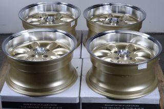 15x7 5 Effect Wheels Rims Gold 4x100 0mm Offset Aveo Escort Civic