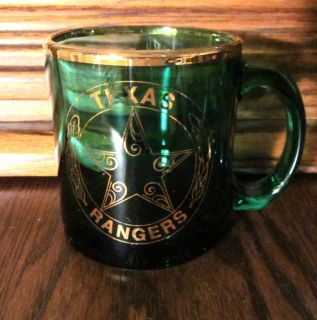 Texas Rangers Dark Green Glass Coffee Mug