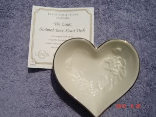 Sculpted Rose Heart Dish Fine China with Pure 24 KT Gold Rim