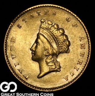 1855 1 Princess GOLD Dollar Piece UNCIRCULATED Details Small Rim Nick