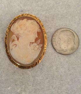 Antique Cameo 14k Yellow Gold Rim Beautiful Pin Brooch Broach