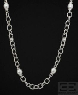 Judith Ripka Sterling Silver Collection Pearl Link Long Necklace
