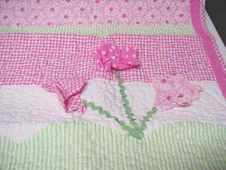 Maggie Zoe Elyse Pink Green 3D Flowers Twin Quilt Set