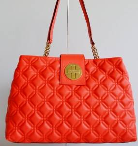 Kate Spade $458 Coral Quilted Leather Astor Court Elena Purse Bag Tote