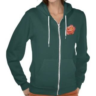 Dream Come True Peach Tea Rose Womens Zip Hoodie