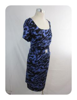 New Plus Michael Kors Azure Blue Black Cotton Belted Sheath Dress 18W