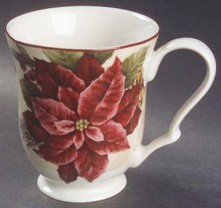 222 Fifth (PTS) Yuletide Celebration Mug, Fine China Dinnerware   Red & White Po