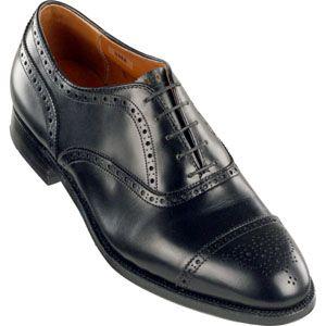 Alden Mens Medallion Tip Bal Calfskin Black Shoes   909