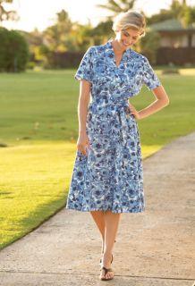 Cfo Linen/Tencel Funnelneck Floral Dress, 10