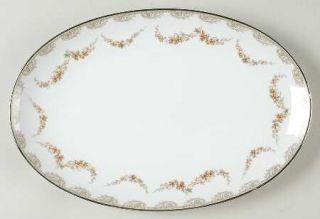 Noritake Denise 12 Oval Serving Platter, Fine China Dinnerware   Gray Scrolls,