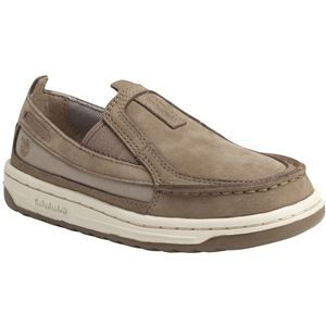 Timberland Kids Ryan Springs Leather and Fabric Slip On Boat Junior Greige Nubuck Shoes   3596R