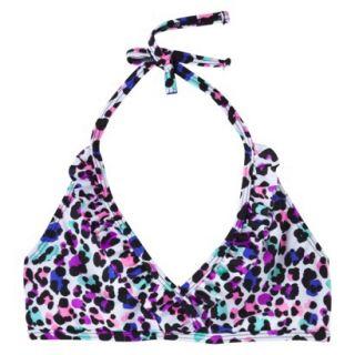 Xhilaration Girls Leopard Print Halter Bikini Top   White XL