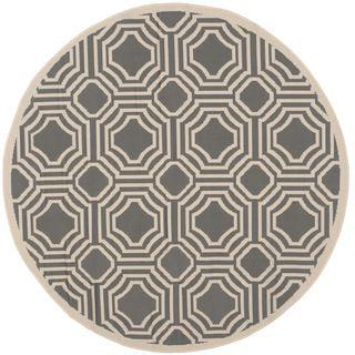Safavieh Indoor/ Outdoor Moroccan Courtyard Anthracite/ Beige Rug (5 Round)