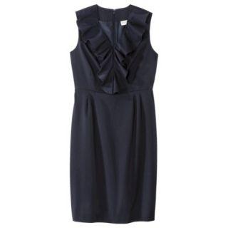 Merona Womens Twill Ruffle Neck Dress   Federal Blue   10