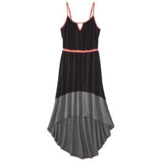 Merona Womens Knit Colorblock High Low Hem Dress   Black/Gray   S