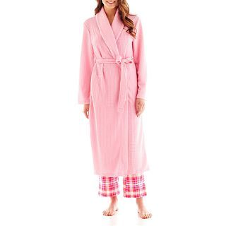 Jasmine Rose Houndstooth Knit Robe, Pink, Womens