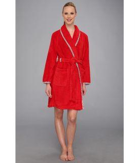 Carole Hochman Fresco Roses Short Wrap Robe Womens Robe (Red)