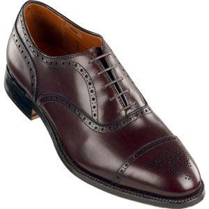 Alden Mens Medallion Tip Bal Calfskin Burgundy Shoes   908