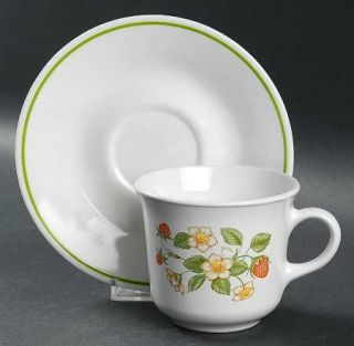 Corning Strawberry Sundae Flat Cup & Saucer Set, Fine China Dinnerware   Corelle