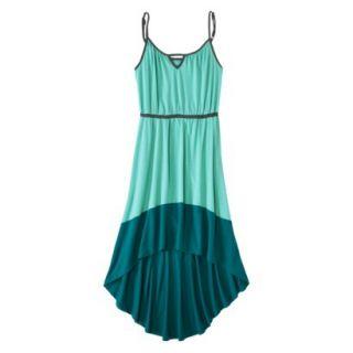 Merona Womens Knit Colorblock High Low Hem Dress   Sunglow Green/Turquoise