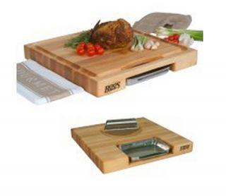 John Boos Gift Collection w/ 18x18x2.25 in Cutting Board, Pan & Rocker Knife, Cream