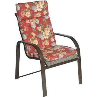 Ali Patio Polyester Crimson Red Floral Smooth Edge Hi back Outdoor Arm Chair Cushion (Crimson red with accents of hunter green, sage green, rose red, beige, tan, cream, light blue, steel blueMaterial: Polyester fabricFill: 2 inches of polyester fiberClosu