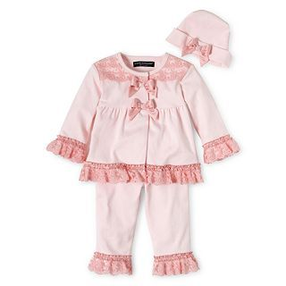 Wendy Bellissimo 3 pc. Lace Pant Set   Girls newborn 9m, Pink, Girls