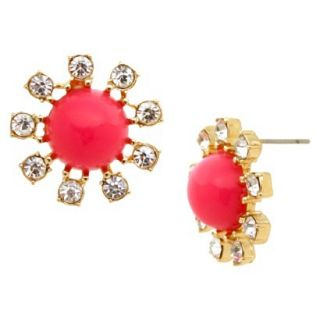 Button Earrings   Gold/Pink