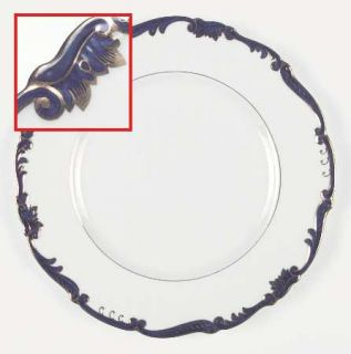 Coalport Admiral Cobalt Blue Dinner Plate, Fine China Dinnerware   Gold Scroll O