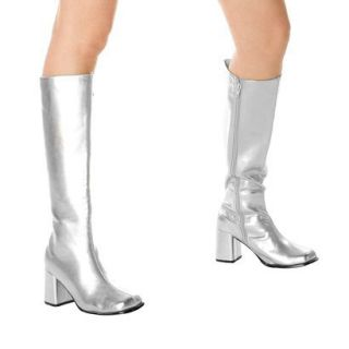Silver Gogo Boots Adult   8.0