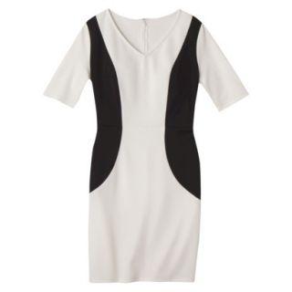 Merona Womens Ponte V Neck Color Block Dress   Sour Cream/Black   XXL