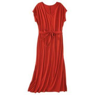 Merona Womens Plus Size Short Sleeve V Neck Maxi Dress   Orange 1