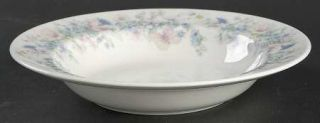 Wedgwood Angela Rim Soup Bowl, Fine China Dinnerware   Pastel Flowers, Smooth, C