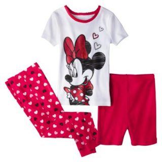 Disney Minnie Mouse Toddler Girls 3 Piece Pajama Set   Red 3T