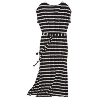 Merona Womens Plus Size Short Sleeve V Neck Maxi Dress   Black/Cream 3