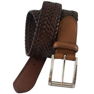 John Deere Leather Braided Belt, Tan, Mens