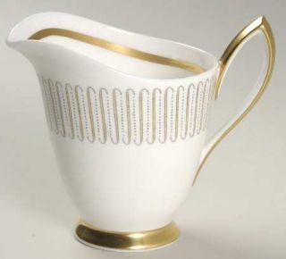 Royal Albert Capri Creamer, Fine China Dinnerware   Yellow Line/Brown Dot Zigzag