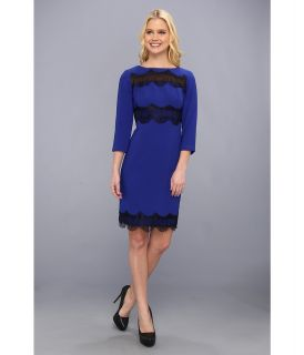 Donna Morgan Fitted Sheath With Lace Trim Womens Dress (Blue)