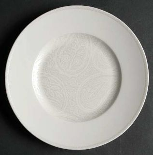 Kay Unger Paisley Shimmer Platinum Salad Plate, Fine China Dinnerware   White Fl