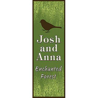 Enchanted Forest Bird Personalized Vertical Vinyl Banner    134 X 48 Inches, Green, White