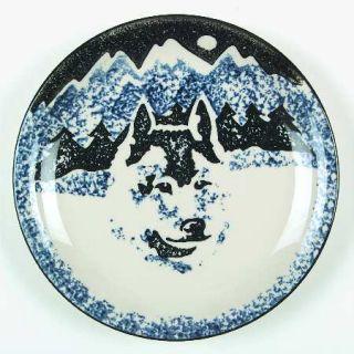 Tienshan Wolf Salad/Dessert Plate, Fine China Dinnerware   Blue/Black Sponge Wol