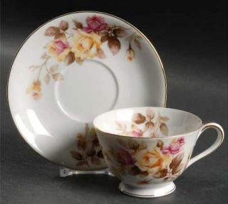 Noritake Angela Footed Cup & Saucer Set, Fine China Dinnerware   Pink&Yellow Ros