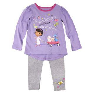 Disney Infant Toddler Girls Doc McStuffins Top and Bottom Set   Purple 5T