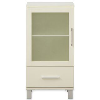 Frosted Pane Short Bathroom Cabinet, White