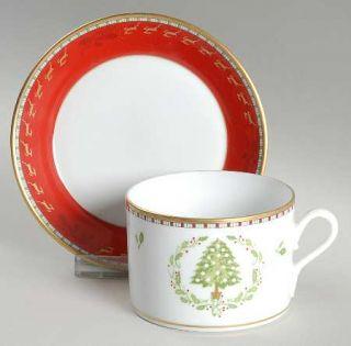Richard Ginori Merry Ginori Christmas Flat Cup & Saucer Set, Fine China Dinnerwa