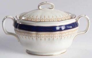 Royal Doulton Duke Of York Blue Sugar Bowl & Lid, Fine China Dinnerware   Blue