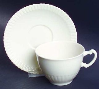 Syracuse Shelledge Footed Cup & Saucer Set, Fine China Dinnerware   All White,Na