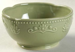 Jaclyn Smith Scalloped Floral Green Soup/Cereal Bowl, Fine China Dinnerware   Tr