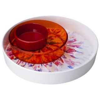 Room Essentials Floral Round Chip and Dip Bowl Set of 3   White/Orange/Red
