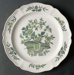 Wedgwood Green Leaf (QueenS Shape) Luncheon Plate, Fine China Dinnerware   Quee